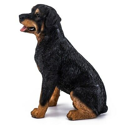 """Sitting Rottweiler Dog Figurine Statue 5.25""""H Resin New In Box!"""