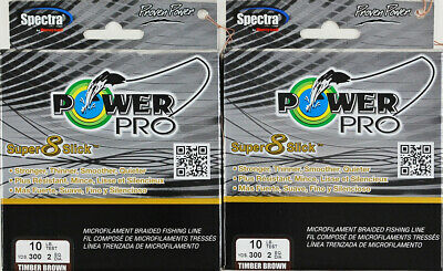 (Lot Of 2) Power Pro Super8Slick 300Yds Braided 10Lb Line Timber Brown L3406