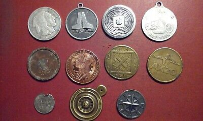 Junk Drawer Lot of 10 Various some Unidentified Unusual Tokens Medals Coins