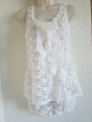 In Bloom By Jonquil Intimate Sleepwear, Top & Short, Small, Ivory, White, Nwot