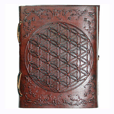 Pocket Leather Journal - Flower of Life - 100 Pages Hand Paper - 7.5cmx10cm