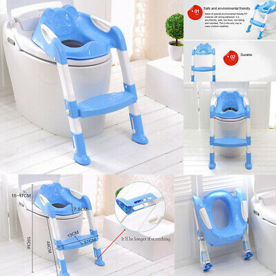 Baby Kids Potty Toilet Trainer Seat Step Stool Ladder Adjustable Training Chair