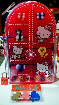 Hello Kitty Sanrio Vintage 1994 Storage Case Jewelry Box w/ LOCK & Erasers Lot