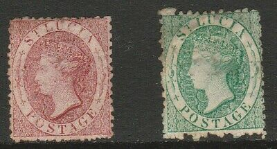 West Indies ST LUCIA c1860s 1d Red & 6d Green VICTORIAN Rare MINT Stamps Ref:Y2