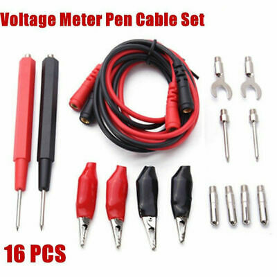 16x Digital Multimeter Test Lead Probe Kit Voltmeter Cable Wire Alligator Clip
