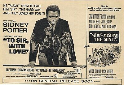 Original A5 Film Advert To Sir With Love Sidney Poitier Judy Geeson Suzy Kendall