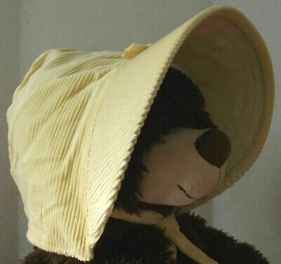Vintage baby bonnet yellow needlecord infant hat corduroy 1930s 1940s 1950s girl