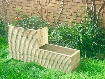Wooden Garden Planters Outdoor Plants Flowers Pot Long  Rectangular  New