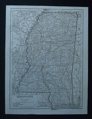 Vintage Map: Mississippi, United States, by Emery Walker, 1926, B/W
