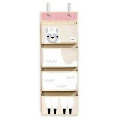 3 Sprouts Llama Hanging Wall Organizer Baby Diaper Nursery Storage Pink & White