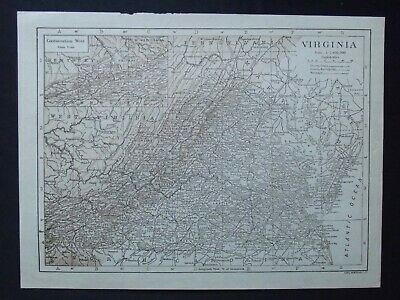Vintage Map: Virginia, United States, by Carl Hentschel, 1926, Bi-colour