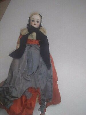 Antique Bisque Head Doll - Late 19th / Early 19th Century Original Clothing