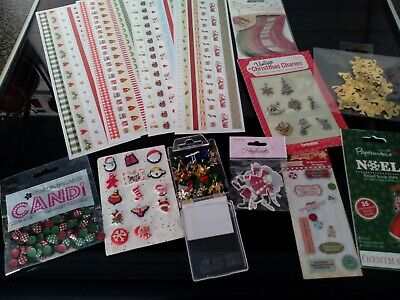 Craft Clear Out Job Lot Christmas Items Ribbons Toppers Brads Card Making