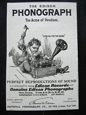 """Original c1890s EDISON PHONOGRAPH Print Ad~Boy/Child w/Axe""""Looking for the Band"""""""
