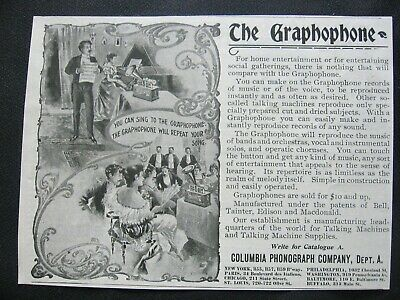 1900s GRAPHOPHONE Columbia Phonograph Vtg Victorian Dinner/Music Party Print Ad