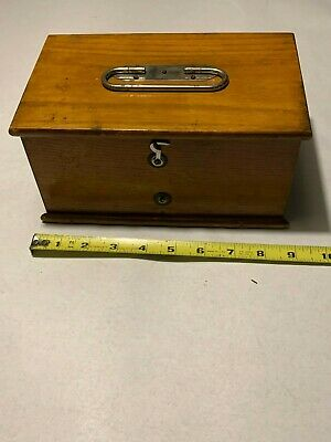 Small vintage wood storage box with hinged lid