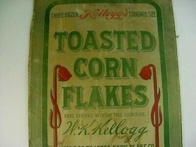 RARE Early 1900's Vintage KELLOGG TOASTED CORN FLAKES Old Country Store Sign