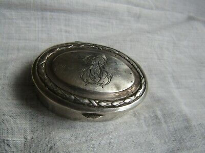 "Sweet Little 19Th Century Pill / Patch Box French Solid Silver  Marked 800 ""Lsm"""