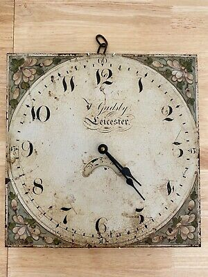 18th CENTURY GRANDFATHER CLOCK FACE HAND PAINTED THOMAS GADSBY LEICESTER