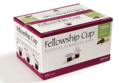 Communion Set Prefilled Fellowship Cup Juice / Wafer Pkg-500 Sets Lords Supper