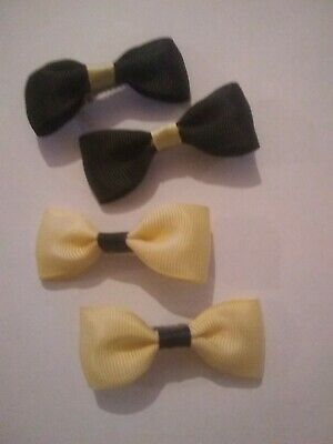 2 pairs of Girls Hair Bows. Black/Cream and Cream/Black. More colours available