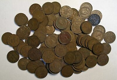 100 CANADA King George SMALL CENT coins 1920 to 1936 KM-28