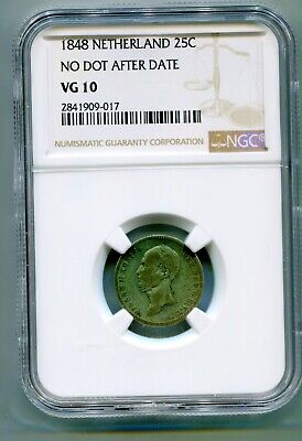 Netherlands 25 Cents 1848 no dot after date NGC VG 10 very rare    lotapr5837