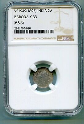 Bardoa, India 2 Anna VS1949 1892 Y33 NGC MS 61 very scarce   lotapr5830