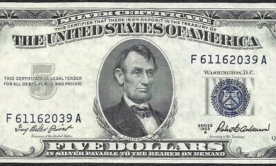 1953A $5 BLUE Seal SILVER Certificate! Old US Paper Money Currency!