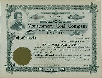 Montgomery Coal Company State of Kentucky Un-Issued Shares Stock Certificate