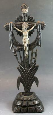 19C European Black Forest Carved Wood & Silvered Metal Altar Crucifix