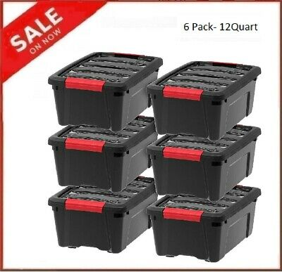 Plastic Storage Tote Container Black Stackable Pull Box 6 Pack Set With Lid Bin