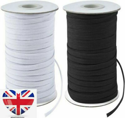 Face Mask Elastic for Sewing QUALITY UK STOCK Thin Cord Strip Black White