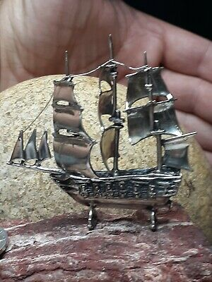 Vintage 33g Galleon Ship Boat Sailing Italian Miniatures 800 Sterling Silver