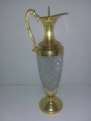 """Vintage Crystal and Gold -Plated Decanter and Stopper 13"""""""