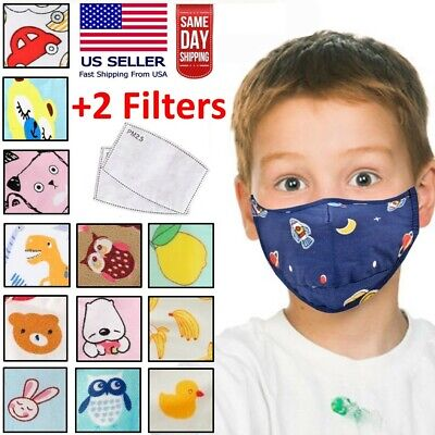 Kids Toddler Boys Girls Reusable Washable Fabric Face Mask with 2 Carbon Filters