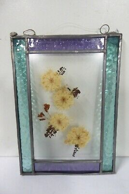 Leadlight Glass Panel With Encased Dried Flowers Specimens
