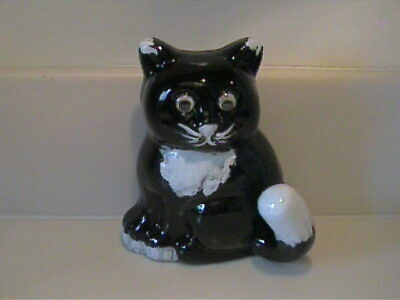 Vintage 1960'S Ceramic Black & White Cat Wall Hanger By Tail
