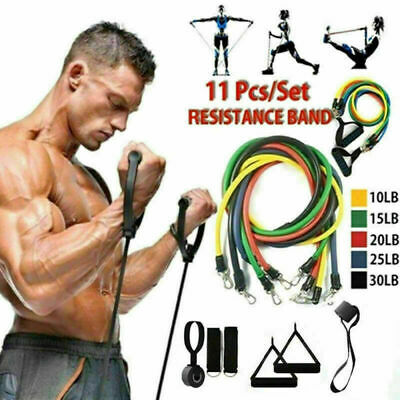 11x Resistance Band Set Yoga Pilates Abs Exercise Fitness Tube Workout Bands US