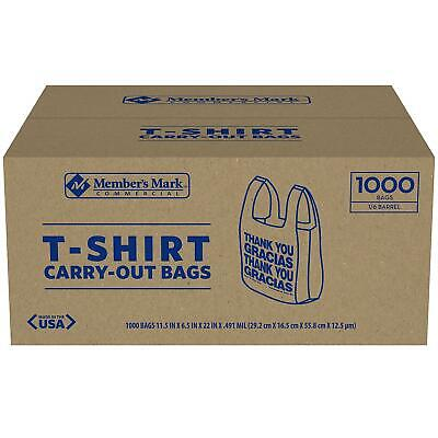 1,000 Commercial Grocery Member's Mark T-Shirt Carry Out Bags Recyclable