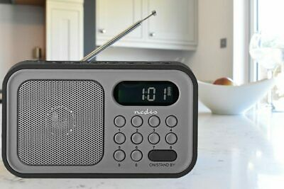 Nedis Portable DAB+ FM Radio Rechargeable, Built in alarm clock, 20 presets
