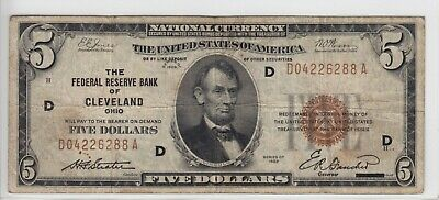 1929 Federal Reserve Bank of Cleveland, OH $5 Note FR#1850D D04226288A