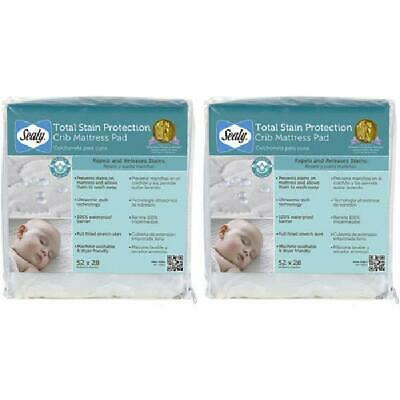 (2 Pack) Sealy Total Stain Protection Waterproof Crib and Toddler Mattress Pad