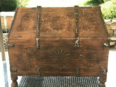 Fabulous Antique 18Th / 19Th  C Indian Mughal Wood & Iron Money / Dowry Chest