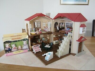 Sylvanian Families Red Roof Country House Box Furniture Goats Accessories Bundle