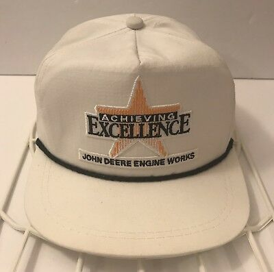 White John Deere Snapback Hat Engine Works Achieving Excellence K-Products Cap
