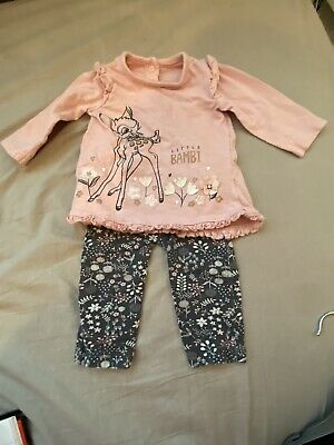 Disney Baby At George Girls Bambi Top & Leggings Outfit 3-6 Months