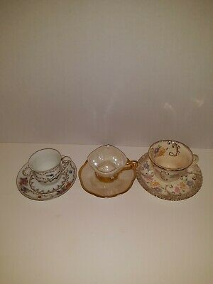 3 Vintage Demitasse cup/saucer different designs gold guilding 1 is Winterling.