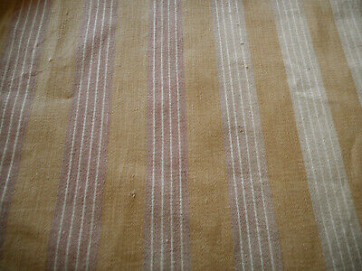 Antique French Wide Stripe  Primitive Rustic Cotton Ticking Fabric ~Lavender Tan