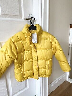 NEXT Girls Yellow Padded Coat NEW Age 7 Concealed Hood ☀️🌧